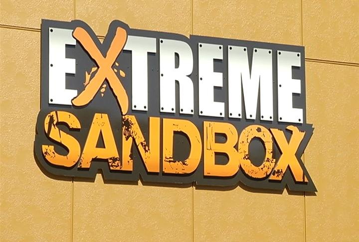 Extreme Sandbox logo on the side of their building