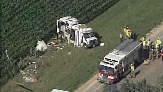 8 injured in transport bus crash