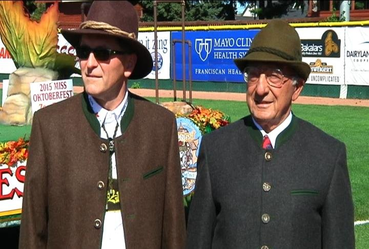 Brad Quarberg, Maple Leaf Parade Marshal, left, and Louie Ferris, right, the 2016 Torchlight Parade Marshal.