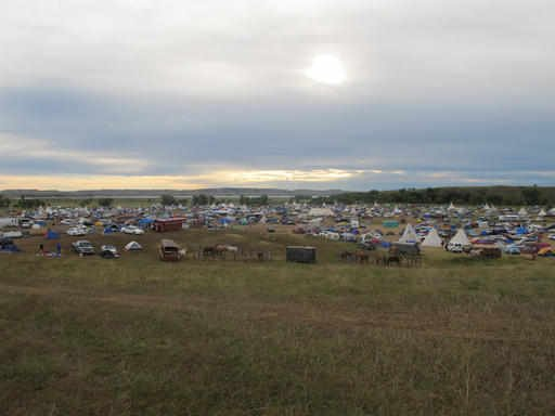 (AP Photo/James MacPherson). More than a thousand people gather at an encampment near North Dakota's Standing Rock Sioux reservation on Friday, Sept. 9, 2016.