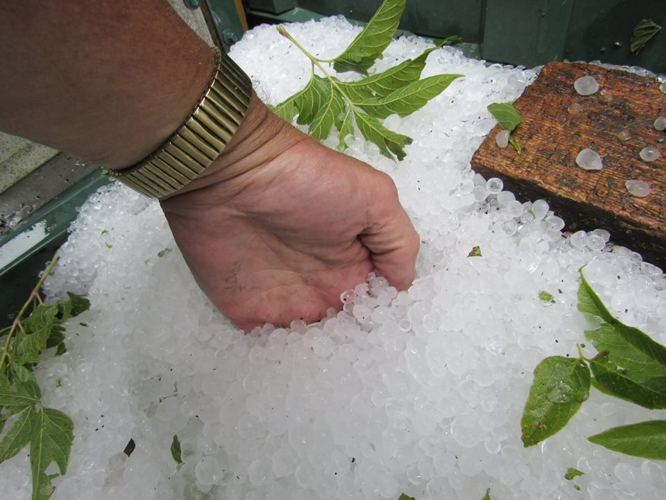 The depth of the hail that fell in the Viola area Monday afternoon. Dean Young photo