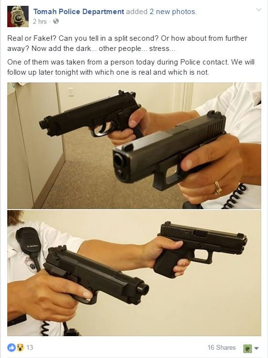 A post on the Tomah Police Department page showing the replica gun and a real gun. The post said the BB gun is the one in the right hand of the officer.
