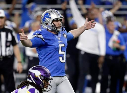 Detroit Lions kicker Matt Prater watches his game winning field goal during the second half of an NFL football game against the Minnesota Vikings, Thursday, Nov. 24, 2016 in Detroit.