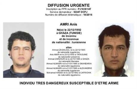 The photo which was sent to European police authorities and obtained by AP on Wednesday, Dec. 21, 2016 shows Tunisian national Anis Amri who is wanted by German police for an alleged involvement in the Berlin Christmas market attack.