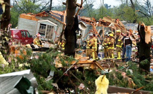 (Dan Reiland/The Eau Claire Leader-Telegram via AP). Firefighters work the site of the damage after a tornado ripped through Prairie Lake Estates trailer home park, just north of Chetek, Wis., Tuesday, May 16, 2017.