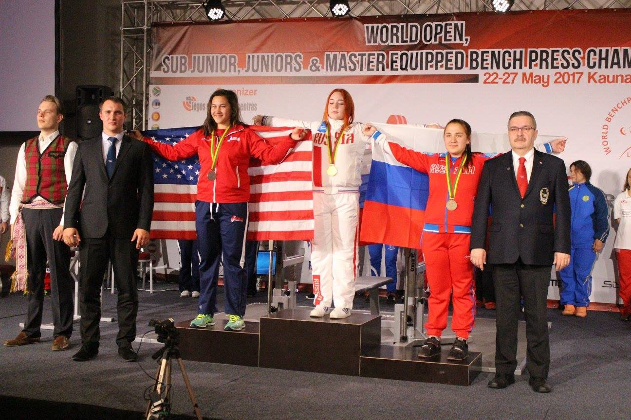 Abbi Stafslien-Dumale, left, finished second in the sub-juniors 84kg division at the IPF World Women's Bench Press Championships in Kaunas, Lithuania.