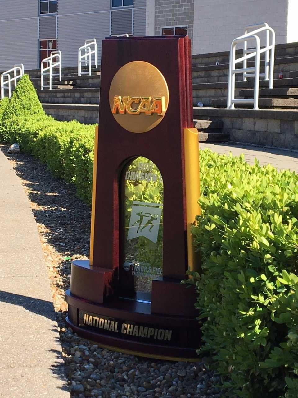 A detailed look at the NCAA III Outdoor Championship trophy. The UW-L men's team now has 15 of them.
