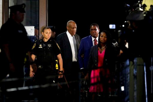 (AP Photo/Matt Slocum). Bill Cosby leaves the Montgomery County Courthouse during his sexual assault trial, Friday, June 16, 2