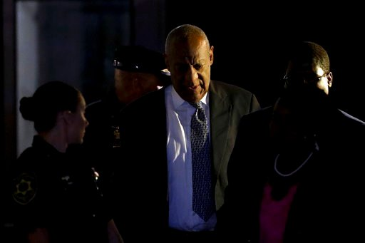 (AP Photo/Matt Slocum). Bill Cosby leaves the Montgomery County Courthouse during his sexual assault trial, Friday, June 16, 2017, in Norristown, Pa.(AP Photo/Matt Slocum). Bill Cosby leaves the Montgomery County Courthouse during his sexual assault trial
