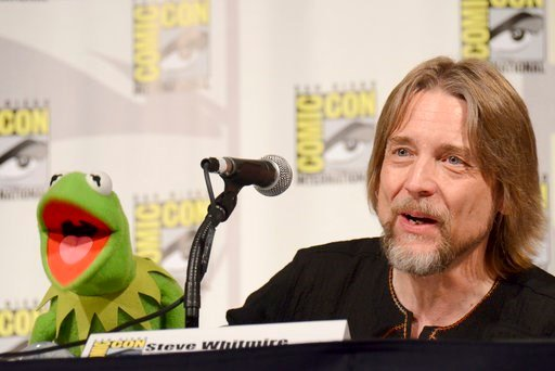 "(Photo by Tonya Wise/Invision/AP, File). FILE - In this July 11, 2015, file photo, Kermit the Frog, left, and puppeteer Steve Whitmire attend ""The Muppets"" panel on day 3 of Comic-Con International in San Diego."