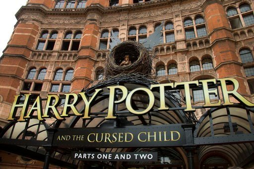 """(Photo by Joel Ryan/Invision/AP, File). FILE - This July 30, 2016, file photo shows the Palace Theatre in central London which is showing a stage production of, """"Harry Potter and the Cursed Child."""""""