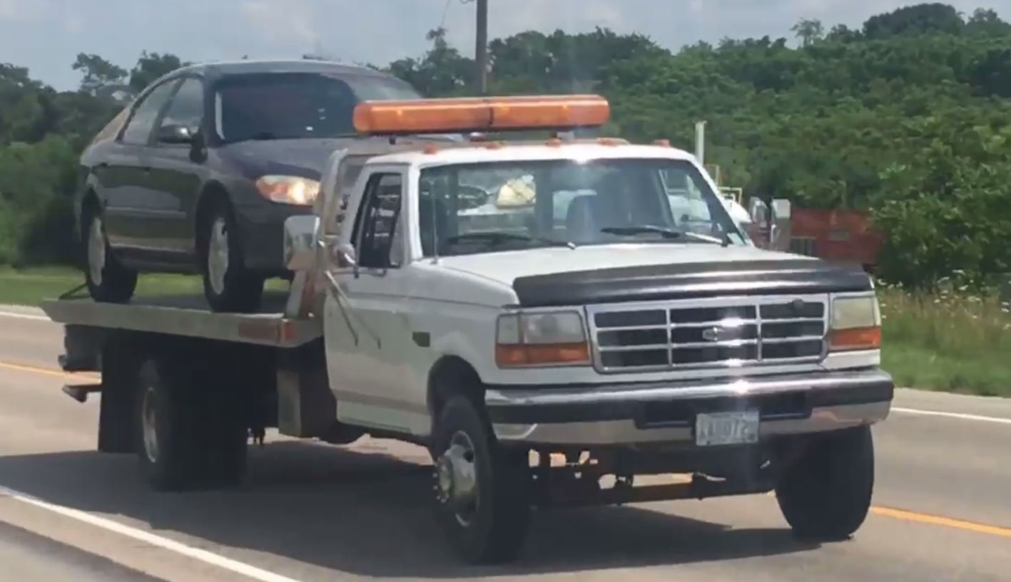 Suspect vehicle towed from the scene of the crash following the high speed chase.