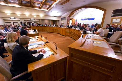 (Mark Hoffman/Milwaukee Journal-Sentinel via AP). The Assembly Committee on Jobs and Economy meets about the incentive deal for Taiwan-based Foxconn Technology Group, Thursday, Aug. 3, 2017, at the state Capitol in Madison, Wis.