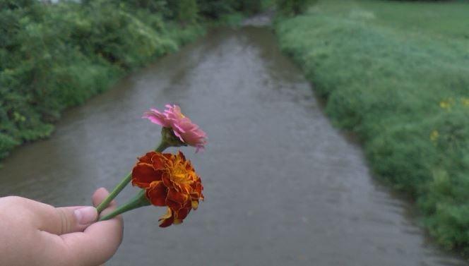 Dominik Whetstone prepares to throw his flowers into the Lewiston Creek.