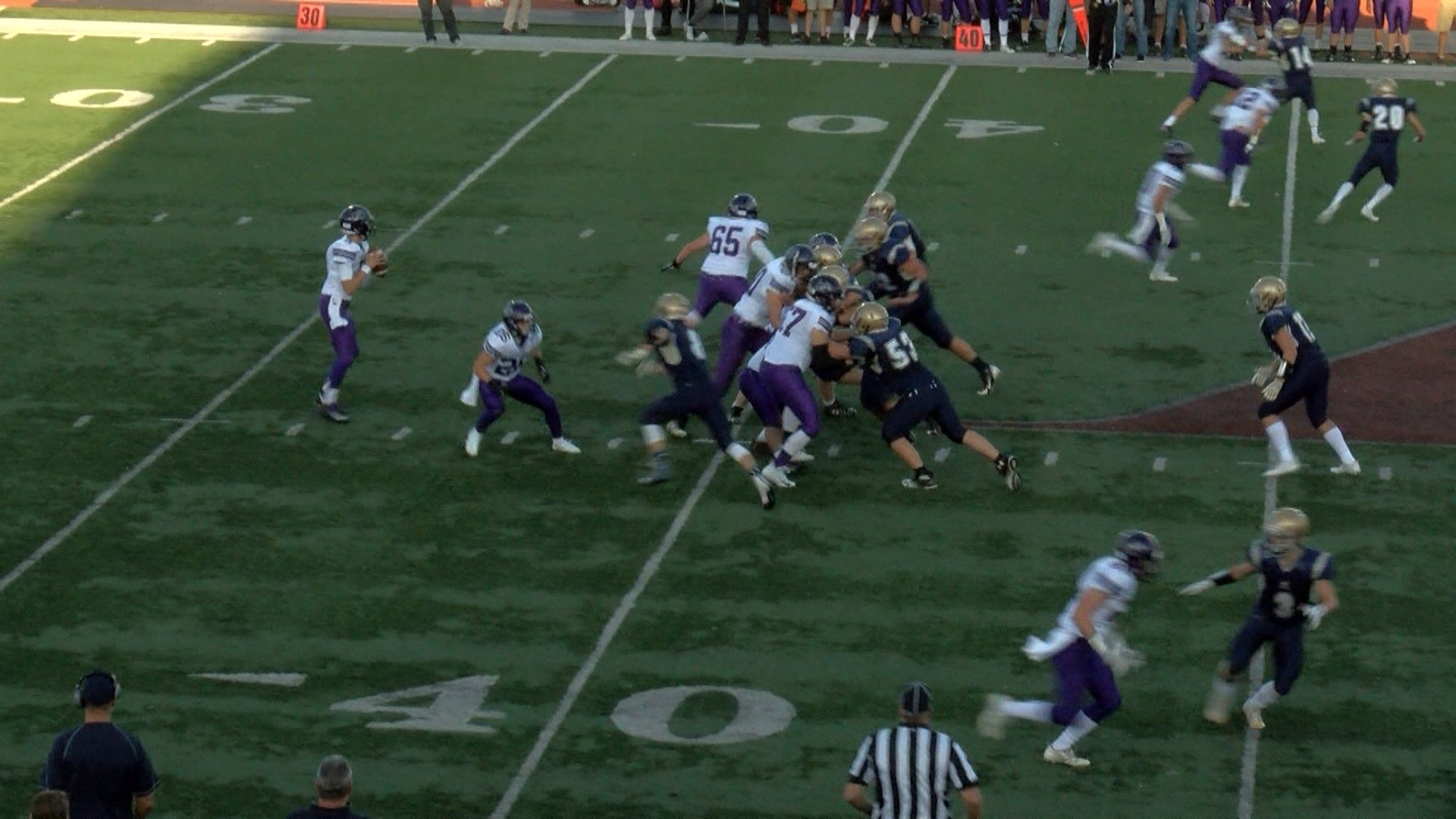 Aquinas playing MVC rival Onalaska in 2017. Aquinas would leave the MVC in football in 2019 following a vote by the WIAA on April 24, 2018.