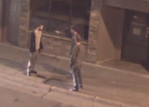 Image from the SafeCam showing the confrontation between Luke Morrissey and the victim moments before the attack.