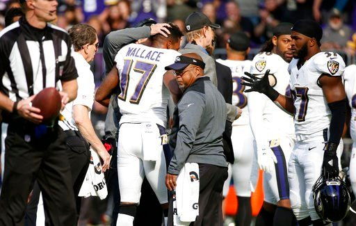 (AP Photo/Bruce Kluckhohn, File). FILE - In this Oct. 22, 2017, file photo, Baltimore Ravens wide receiver Mike Wallace (17) is helped off the field after getting injured during the first half of an NFL football game against the Minnesota Vikings