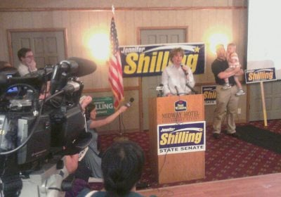Shilling giving victory speech Tuesday night in La Crosse