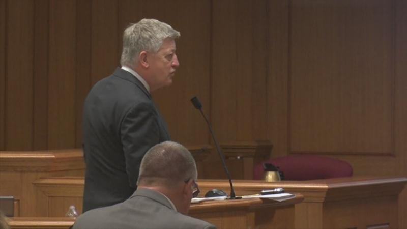 Defense attorney Stephen Hurley making his opening remarks.
