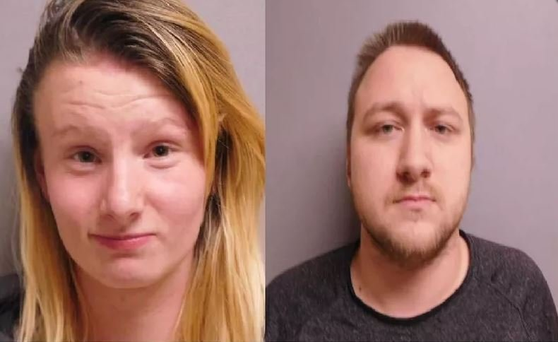 Brandi Schofield, left, and Andrew Conklin, right, after their arrest.
