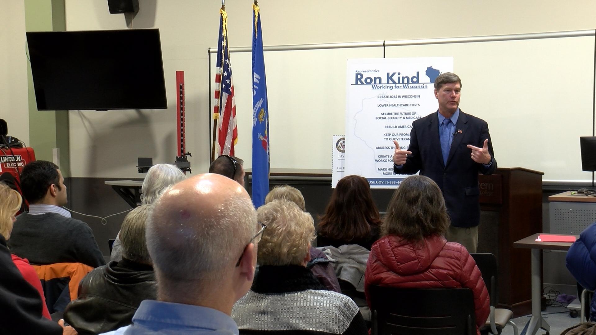 U.S. Congressman Ron Kind addresses crowd during a listening session.