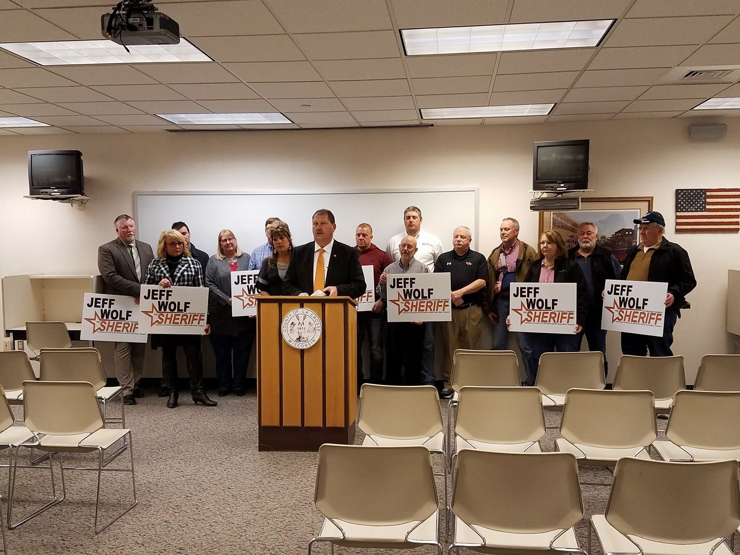 Jeff Wolf, in front of family and supporters, announced his candidacy for La Crosse County Sheriff.