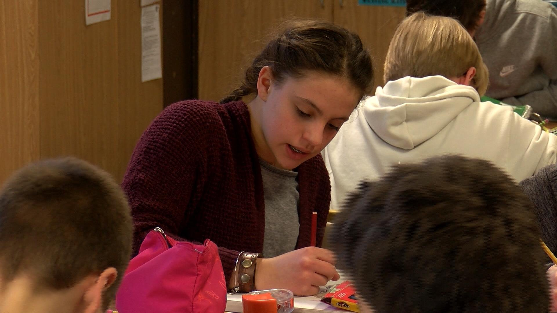 Student at La Crosse's Lincoln Middle School works on art.