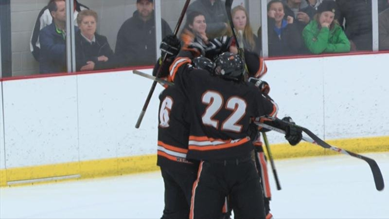 West Salem/Bangor players celebrate after scoring in the game that sent them to the WIAA State Hockey Tournament in Madison this week.