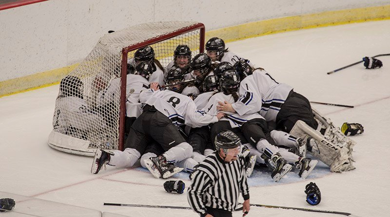 Eau Claire players celebrate after winning the 2018 WIAA Girls State Hockey Championship in Madison