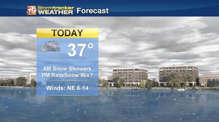 Snow showers continue, possibly mixing with rain in the afternoon