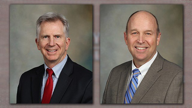 Dr. Tim Johnson, M.D. left, and Joe Kruse, right. Both men announced on March 6, 2018 they were stepping down from the Mayo Clinic Health System-Franciscan Healthcare  leadership team in 2018.