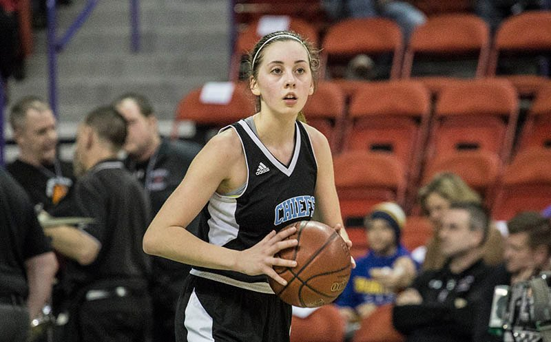Katelyn Meister inbounds the ball in the Wisconsin Dells vs. Marshall game at the WIAA Girls State Basketball Tournament. Meister scored 26 for the Chiefs.