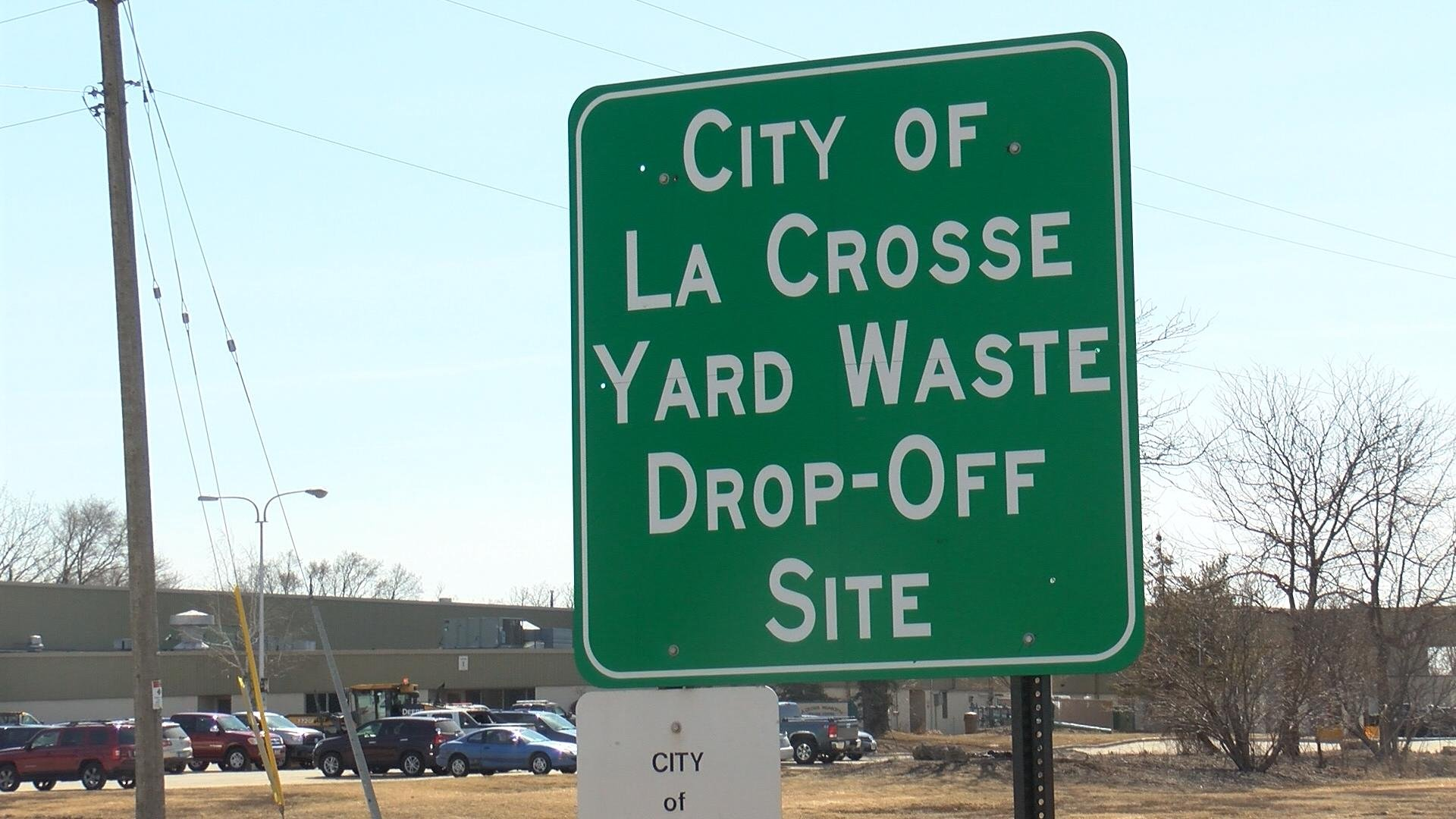 Sign marks location of the city of La Crosse Yard Waste site.