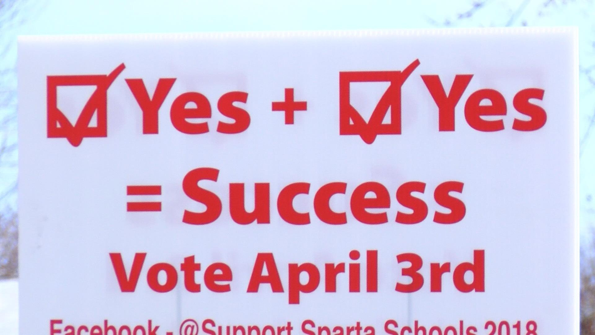 Sign in yard for the Sparta School District Referendum vote.