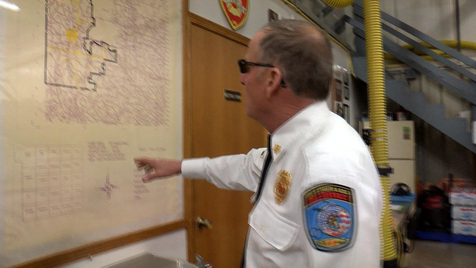 Sparta Fire Chief Mike Arnold shows off a map of the district's boundary.