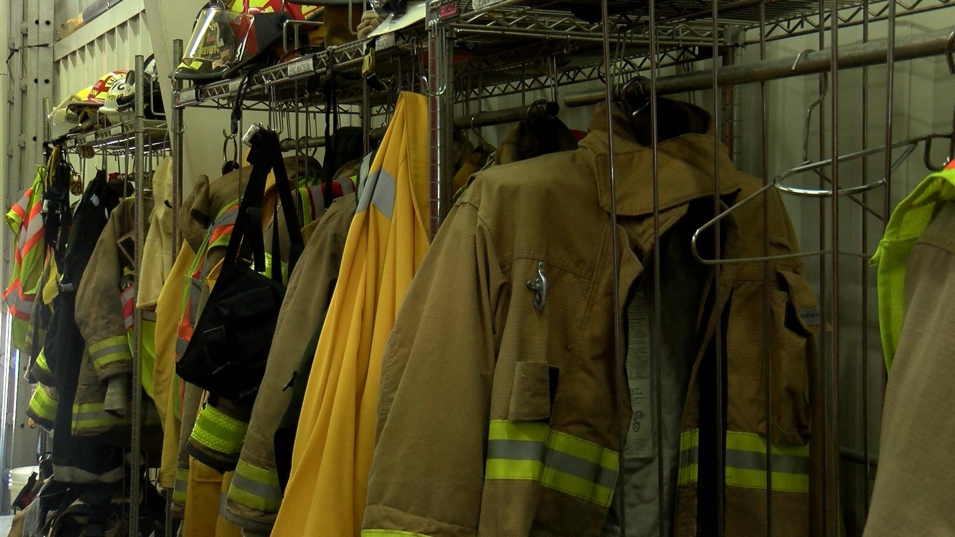 Fire protection gear hang on wall.