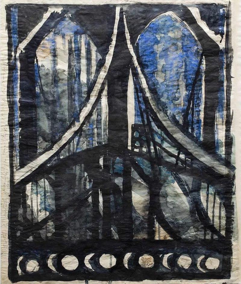 "Joseph Stella, ""Study of the Brooklyn Bridge"""