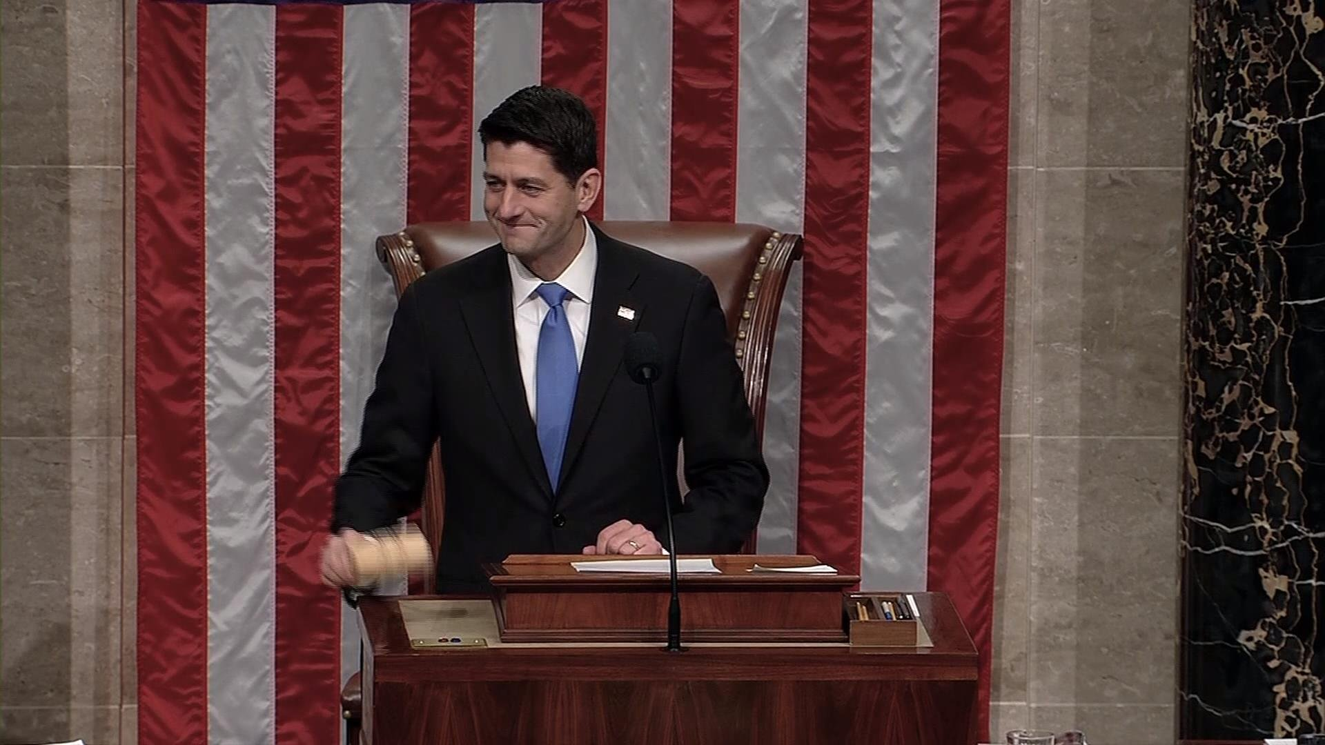 House Speaker Paul Ryan addressing representatives.