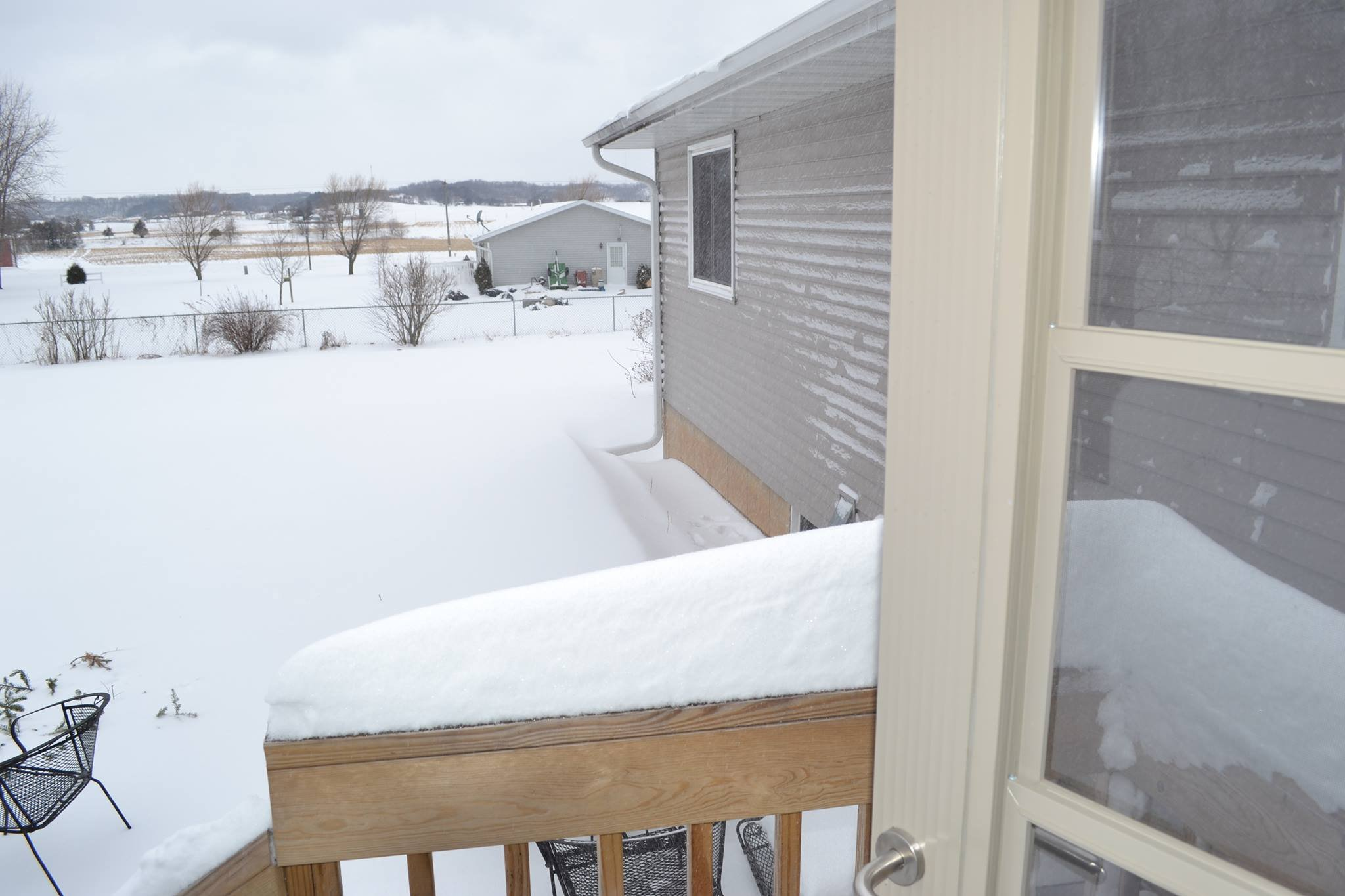 Photo from Iris Kowalewski of the snow in Sparta. They got a little over 7 inches.
