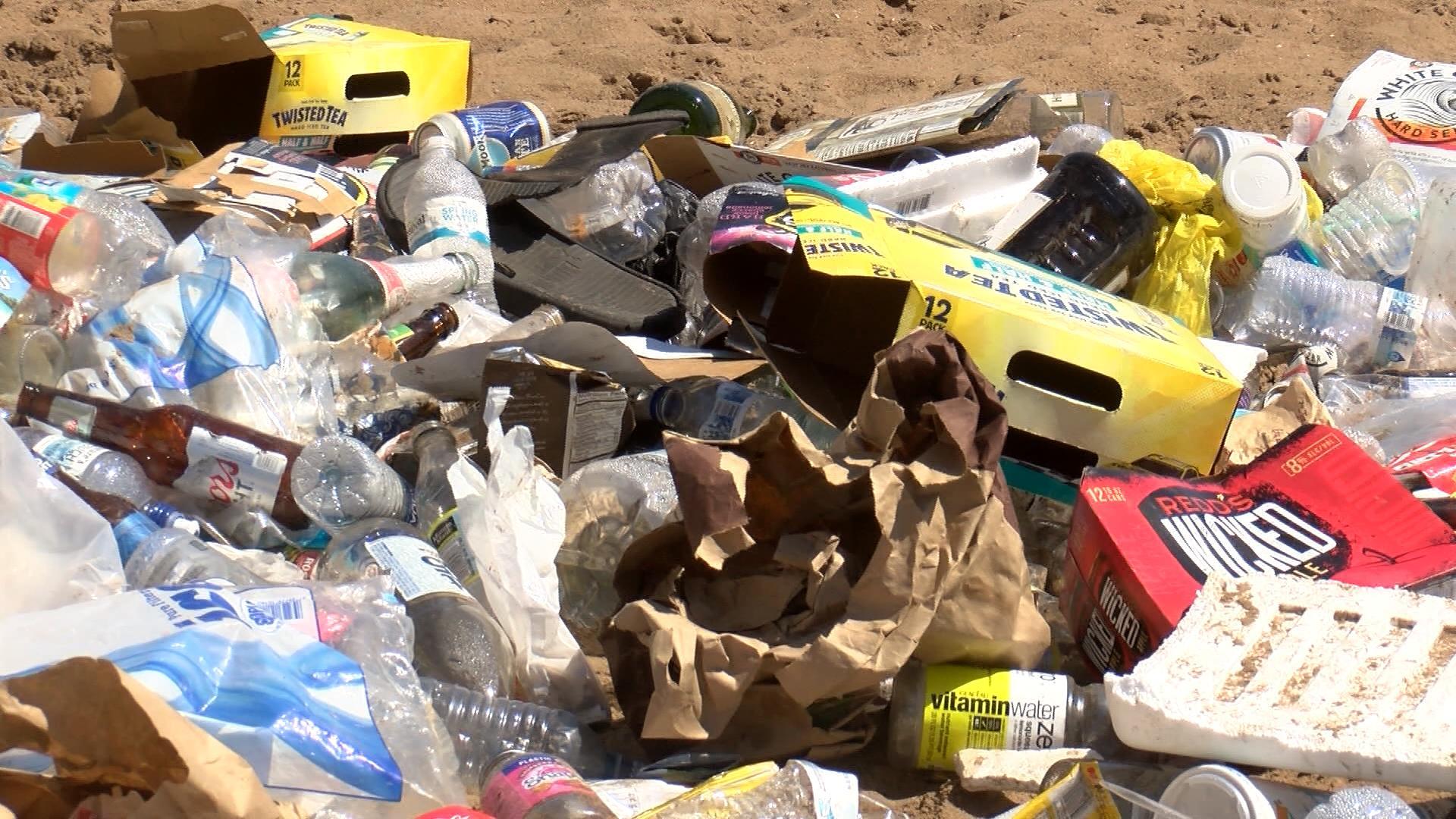 Trash piles up at Pettibone Beach