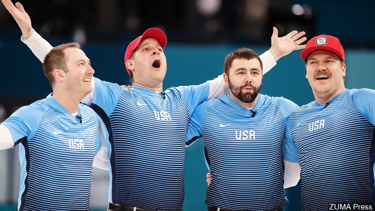 Team USA celebrates after winning the Men's Curling Final of the 2018 Winter Olympics