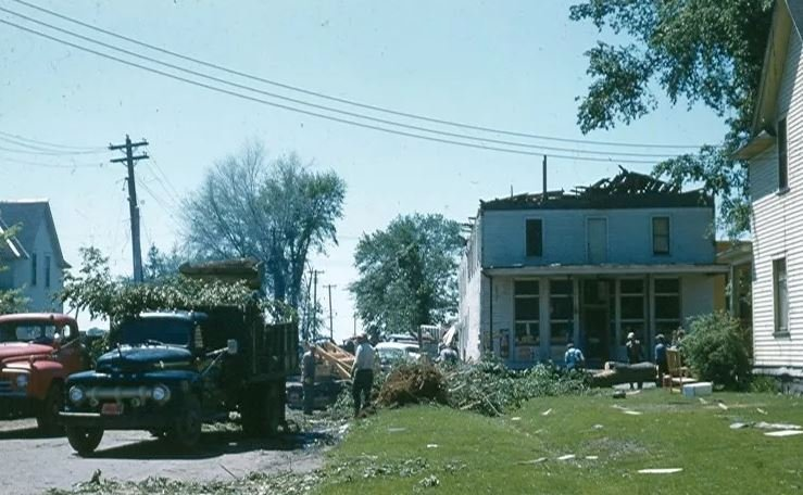 Photos from 1958 showing the destruction in Colfax from the tornado.