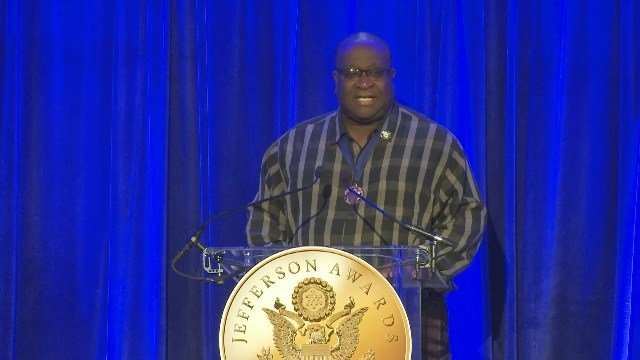 Nate Coleman, local Jefferson Awards winner from La Crosse, speaks at the national gala in Washington, D.C. on June 28.