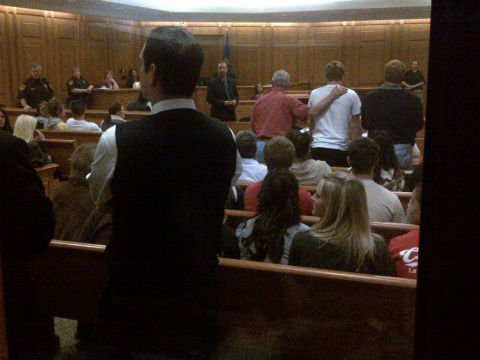 Around 30 family members and friends of Sara Hougom in court Tuesday 5/1