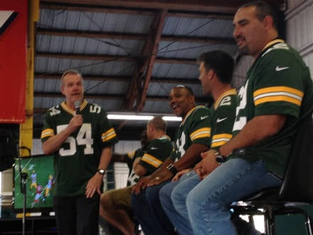 Larry McCarren, Jordy Nelson, William Henderson, Mason Crosby, and Marco Rivera at the Packer Tailgate Party