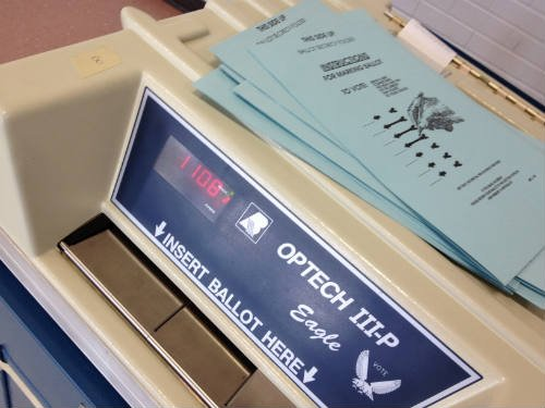 Turnout heavy in most areas across the state.   Voting machine at Emerson Elementary La Crosse.  Photo by Mark Bronson