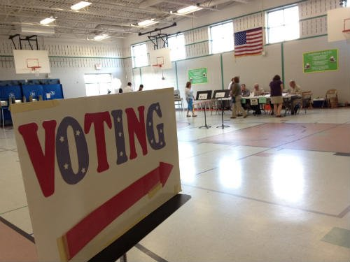 Emerson Elem. Polling location.  Photo by Mark Bronson