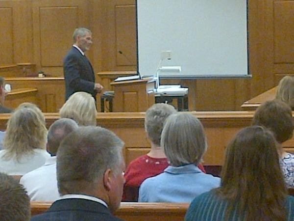 Defense attorney Jim Koby presents opening statements