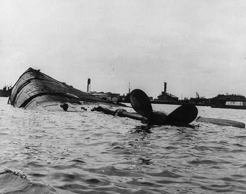 The USS Oklahoma following the December 7, 1941 attack