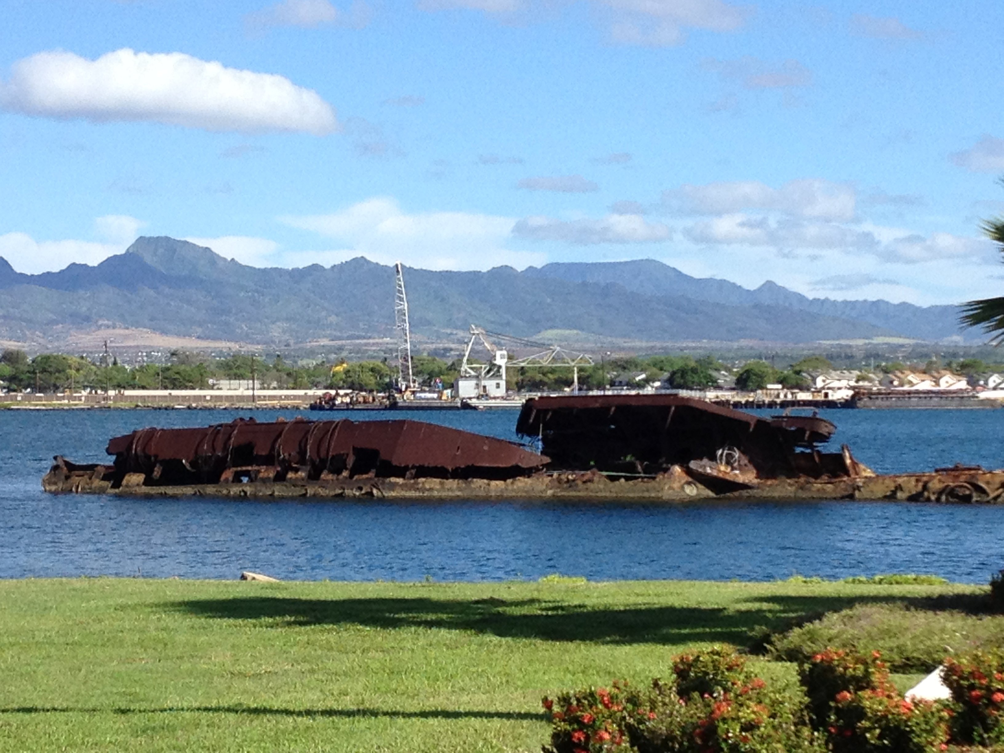 The remains of the USS Utah at Pearl Harbor